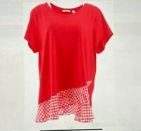 Isaac Mizrahi Live! Short-Sleeve Top with Gingham Ruffles Exotic Red Large