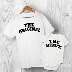 Original & Remix - Dad & Baby Son or Daughter Matching Father Tshirt & Baby Grow