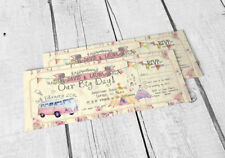 25 Wedfest Shabby Chic Summer Fete Bunting Camper Van Ticket Wedding Invitations