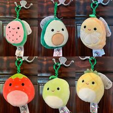 "6X 2020 New fruit collection 3.5"" Kellytoy squishmallows mini keychain clip"