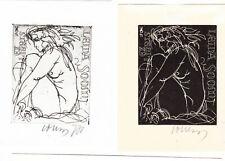 Evald OKAS (EST) 2 Mid-Century Exlibris Soom Erotic Nude Women sign. Etching C3