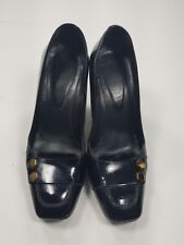 Tod's  Black Leather Loafer Heels Square Toe Pumps Sz 8 Womens
