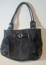 Womens Black Vinyl Purse Ladies Hand Bag