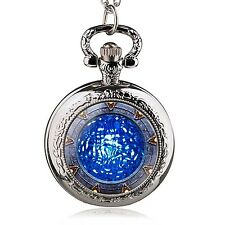 Stargate Atlantis Antique Chain Quartz Pocket Watch Stainless Steel Collectable