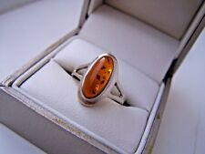 GORGEOUS 925 SOLID STERLING SILVER NATURAL HONEY AMBER RING SIZE N 6 3/4 RARE
