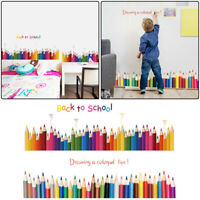 Wall Skirting Stickers Back To School Mural Art Colorful Pencil Decals