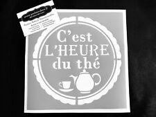 Pochoir Adhésif Réutilisable 20 X 20 cm Affiche Heure Du Thé Vintage/Made in FR