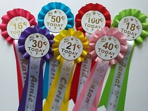 Happy Birthday Rosette With FREE Personalised Tail Name Print 18,21,30,Any Age