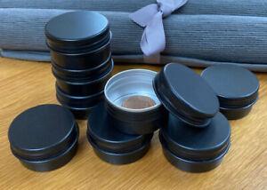 Black Round Metal Tin 30ml Wax Balm Camping Survival Kit Small Storage Stash Pot
