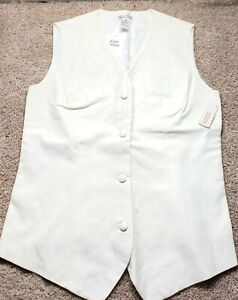 NWT! ANN TAYLOR-Ivory Rayon/Linen, Womens 4B Embroidered Designer Dress Vest-(8)
