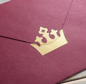 35 metallic gold crown stickers, crown decals, princess party envelope seal