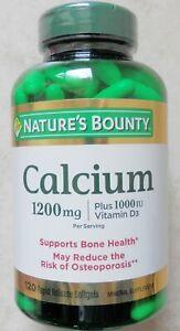 120 Nature's Bounty Calcium 1200 mg + 25 mcg (1000 IU) Vitamin D3 Softgels 10/22