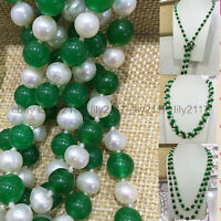 50Inch Charming Natural 7-8MM White Cultivation Pearl + Green Jade Necklace