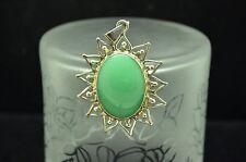 925 STERLING SILVER GREEN AMAZONITE SUN LIKE DESIGN OVAL PENDANT CHARM #X19303