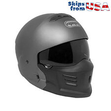 """MMG """"STEALTH"""" Motorcycle Helmet Detachable Face Mask Open Face - Gray L"""