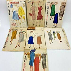 """Vintage Sewing Pattern Lot of 7 Skirts for Waist 28"""" 1940s 1950s COMPLETE PT"""