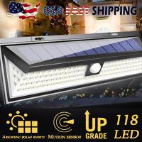 118 LED Solar Lights Waterproof PIR Motion Sensor Outdoor Wall Lamp Garden Yard