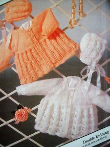 "Baby Girls Raglan Matinee Coat Cardigan Bonnet KNITTING PATTERN DK 16 - 20"" Lacy"