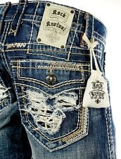 "$220 Mens Rock Revival Jean ""Juno"" Destroyed Faux Pockets Leather Insert 32 X 32"