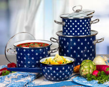 Set of 3 Enameled Stock Pots with Glass Lids Enamelware Healthy Cookware