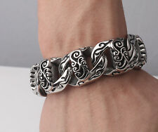 "Rocker Biker Gothic Punk Titanium Men 316L Stainless Steel Bracelet Chain 8.5"""