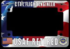 C-141 Starlifter Retired Flight Engineer Flag Motorcycle License Plate Frame