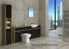 OAK / BLACK GLOSS BATHROOM FITTED FURNITURE WITH TALL UNIT 2400MM