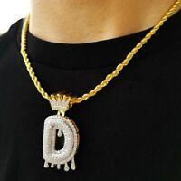 Alphabet Initial Letter Crown Pendant Rope Chain Hip Hop Necklace Men & Women