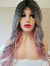 Grey Silver Pink Lace Front Human Hair Wig Ombre Dark Roots Soft curly