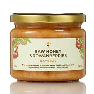 RAW HONEY with ROWAN BERRIES 400g PURE Unpasteurized Natural Jam alternative