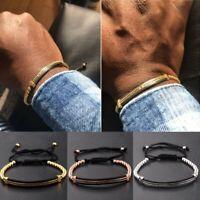 Men CZ Black Zircon Tubes Copper Beads Macrame Bracelets Bangles Women Jewelry