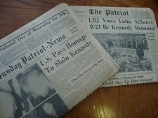 KENNEDY ASSASSINATION AFTERMATH 2 NEWSPAPERS NOV 24 AND 27 1963 HARRISBURG PA VG