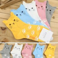 Fashion Women Cute Cartoon Cat Ear Candy Color New Cotton Ankle Socks Stocking