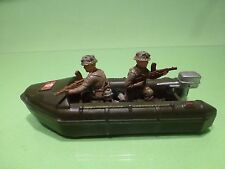 BRITAINS MILITARY INFLATABLE RUBBER BOAT - L12.5cm ARMY GREEN - GOOD CONDITION