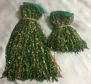 "GOLD & GREEN GLASS BEADED BELLY DANCE FRINGE 40"" x 8"" 40"" x 4"""