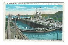 USS Arkansas in Panama Canal Locks (Tinted Postcard from Argentina 1934)