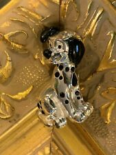 "Disney 101 Dalmation Dog Black Enamel Shiny Silvertone Metal 1.5"" Pin Brooch Ln"