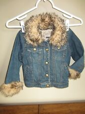 Nwot Toddler Girls The Children'S Place Leopard Fur Denim Jean Jacket 3T