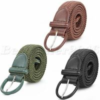 Men Braided Woven Elastic Stretch Canvas Matching Leather Buckle Belt Waistband