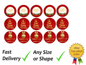 Merry Christmas Red Personalised cupcake toppers wafer or icing sheets Edible