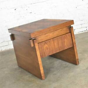 Lane Furniture Modern Brutalist Chunky Oak Parquet Side Table or End Table 1977
