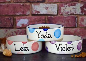 Small dog bowl cat bowl hand painted personalised ceramic cat dish dog feeder