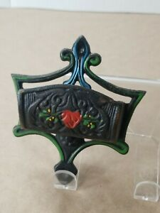 Vintage Wilton Products Cast Iron Match Box Holder Hand Painted Wrightsville PA
