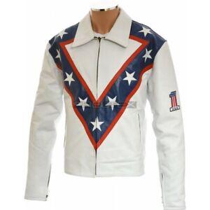Evel KNIEVEL Legend USA Daredevil Stunt Man 100% Leather Causal Fashion Jacket