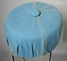 Vintage Womens Pill Box Hat Powder Blue with Netting and Button on Top