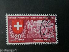 SUISSE SCHWEIZ, 1939 timbre 327 EXPOSITION ZURICH, oblitéré, VF STAMP EXHIBITION