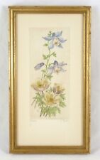 Hand-Colored Etching Wildflowers Colorado Blue Columbine & Pasque Flower Signed