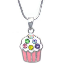 Pink Cupcake Colorful Sprinkle Pendant Necklace Birthday Party Goody Bag Jewelry