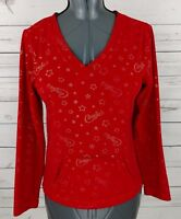 Candies Fleece Top Womens Small S Red V-Neck Long Sleeve Stretch Front Pocket