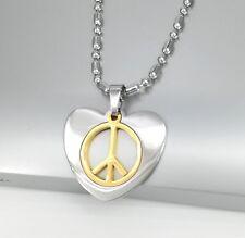 """Silver Gold Woodstock Retro Love Heart Peace Pendant 24"""" 60-61cm Necklace Chain"""